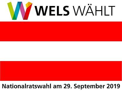 Österreichflagge und Logo Wels Wählt