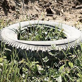 Ein Foto von einem im Gras liegenden Autoreifen.