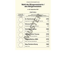 Musterstimmzettel Direktwahl des Bürgermeisters