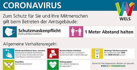 Allgemeine Informationen zum Coronavirus. Verlinkung zur Informationsseite