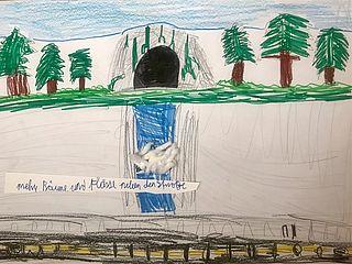 Kinderbild mit Bäumen, Höhle und Wasser