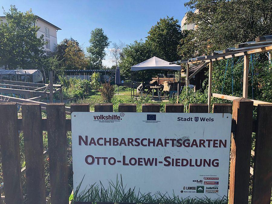 Schild des Nachbarschaftsgarten Otto-Loewi-Siedlung