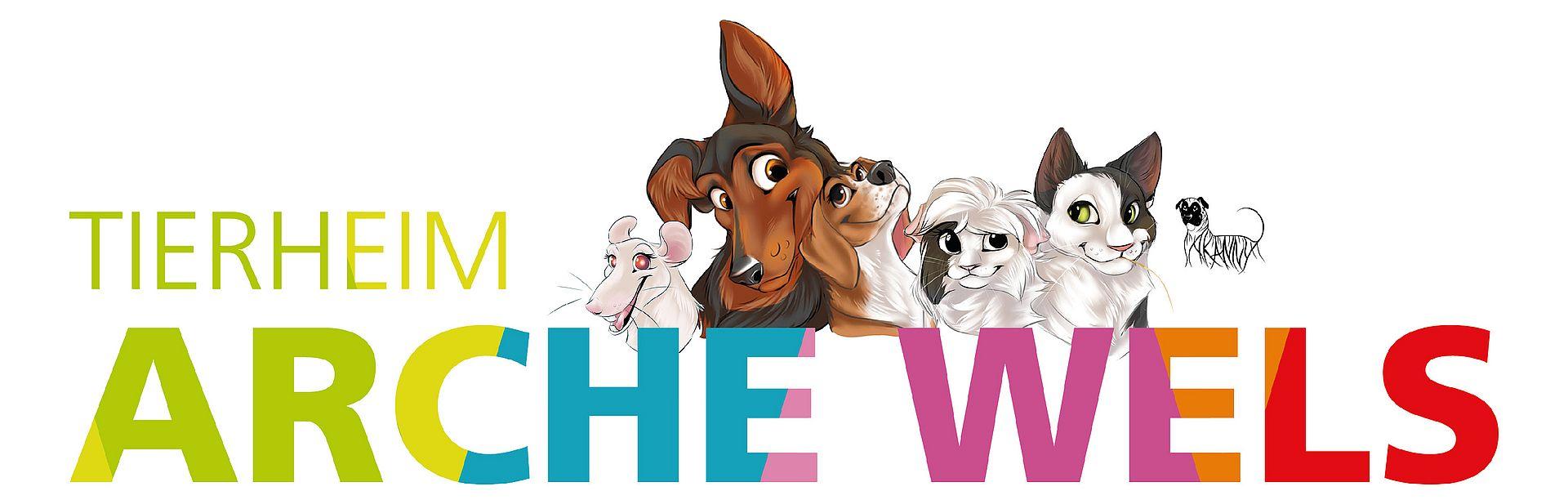 Tierheim Arche Wels - Logo mit Cartoon-Darstellungen von Tieren