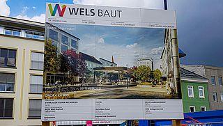 Bautafel Kaiser-Josef-Platz Baustelle