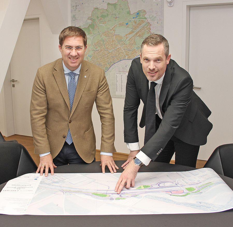 BGM Dr. Andreas Rabl mit Mag. Hartwig Hufnagl, ASFINAG Vorstand