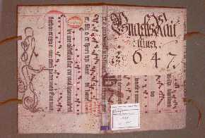 Abgelöster Buchdeckel Antiphonar (Sammlung liturgischer Wechselgäge) aus dem 15. Jhdt., verwendet als Einband für ein Umgeltungsrechenbuch von 1647.