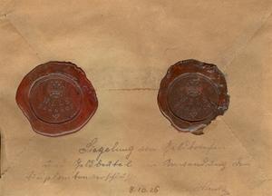 """""""WELS Bahnhof""""; Siegelung von Geldbriefen und Geldbeutel vor Anwendung der Bleiblombenverschlüsse, 08.10.1926"""
