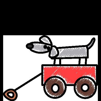 Illustration von einem Bollerwagen mit einem Hund