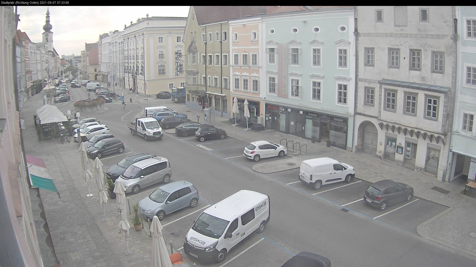 WEBkamera Wels - náměstí Stadtplatz a kostel